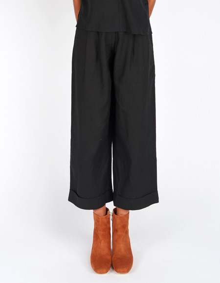 Ali Golden Raw Silk Roll Cuff Pant Black