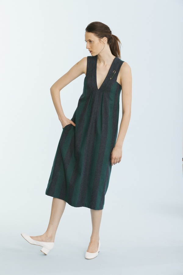 Carleen Pleat Shoulder Dress - Green
