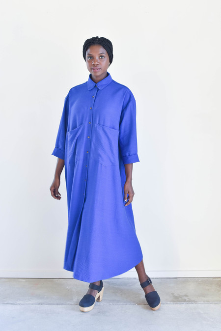 Sunja Link Button Front Shirtdress in Electric Blue