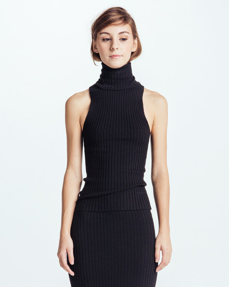 Giu Giu Nonna Sleeveless Turtleneck in Black