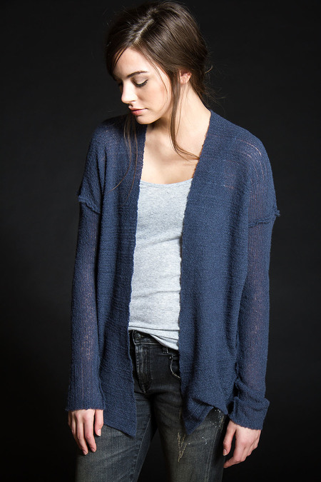 Paychi Guh Cashmere Open Cardigan Ink Blue