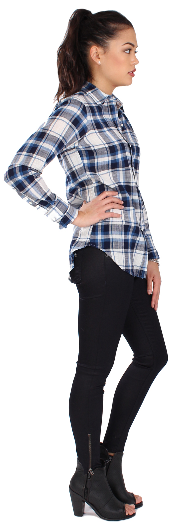 Nili Lotan Shirt Chambray Plaid