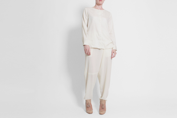 Evam Eva Satin Fly Front Shirt - Antique White
