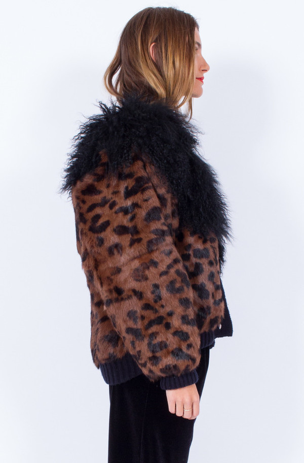 LEOPARD PRINT FUR COAT (ONE SIZE)