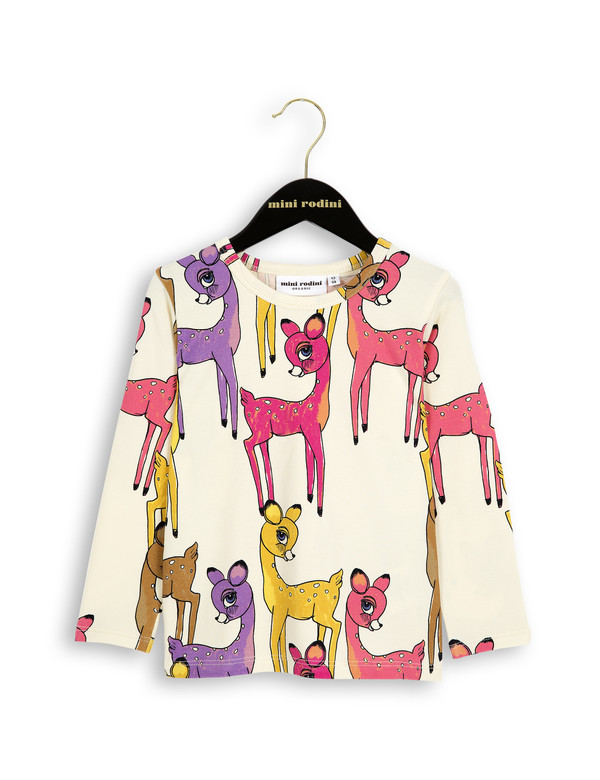 Kid's Mini Rodini ROE DEER LONG SLEEVE T-SHIRT - PINK