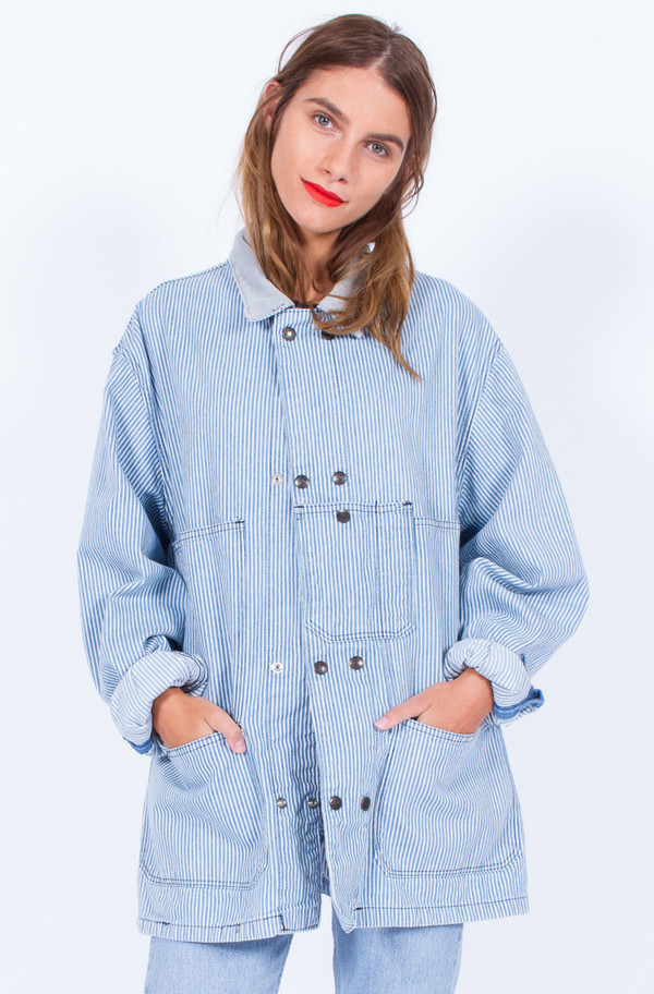 STRIPE DENIM JACKET (ONE SIZE)