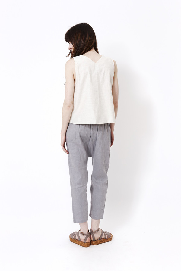 Priory Judd Pant in Blue Grey Heavy Linen