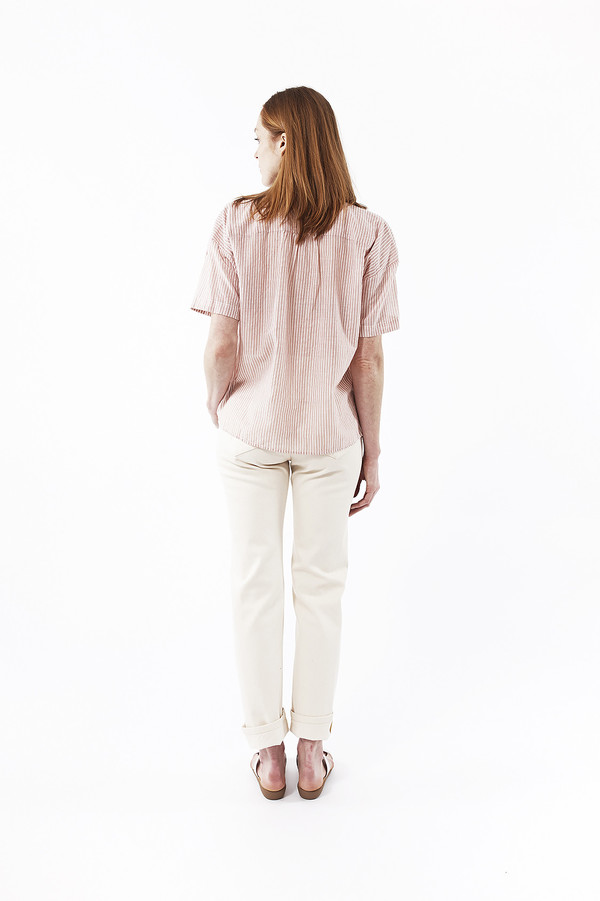 Jenni Kayne Striped Cotton Gathered Short Sleeve Shirt in Terracotta