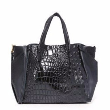 Oliveve zoe tote in black hornback embossed cow leather / black pebbled leather