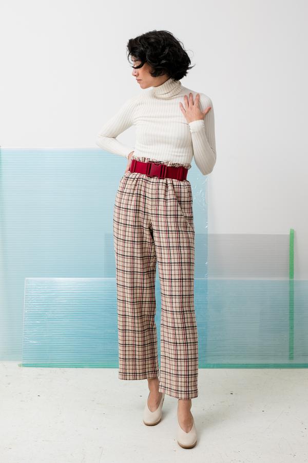 Ganni - Duncan Check trouser - Vanilla Ice