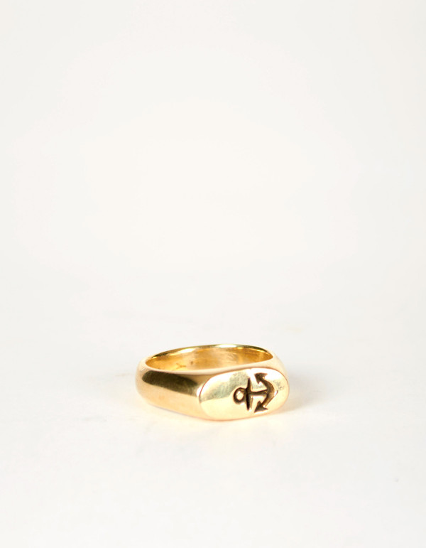 Jon Swinamer Anchor Signet Ring Bronze