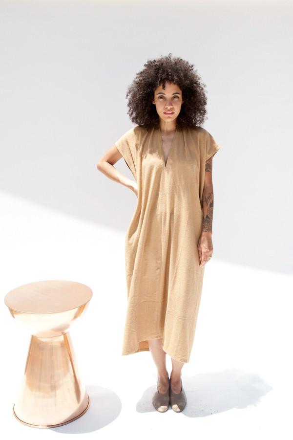 Miranda Bennett In-Stock: Everyday Dress, Oversized, Silk Noil in Camel