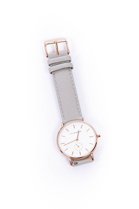 THE HORSE Rose Gold / Grey Leather Watch