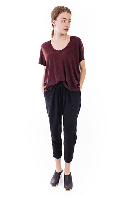 The Great The U-Neck Tee in Dark Wine
