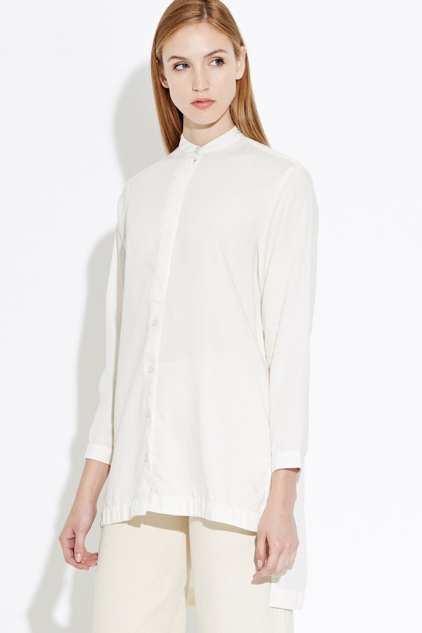 WAVEN Agnes Mandarin Shirt- White