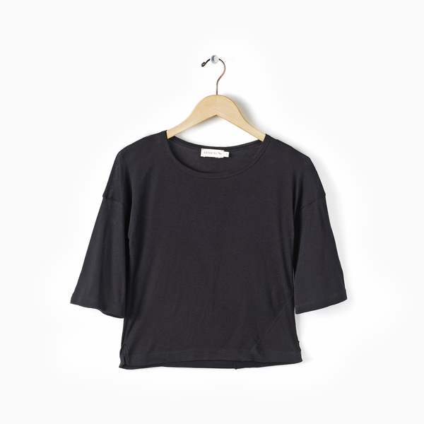 Andorine Black Slited Tee
