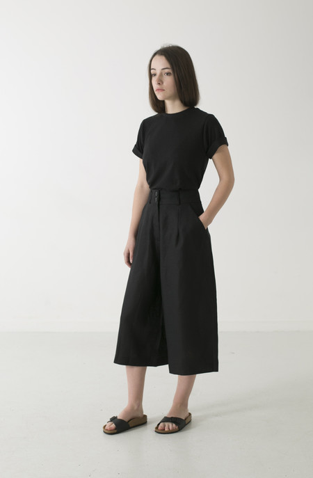 GOOD STUDIOS WOMENS HEMP LINEN CROP WIDE LEG PANT