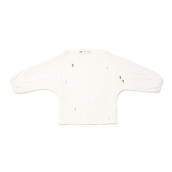 OMAMImini White Dolman Sleeve Sweater with Keyhole Print