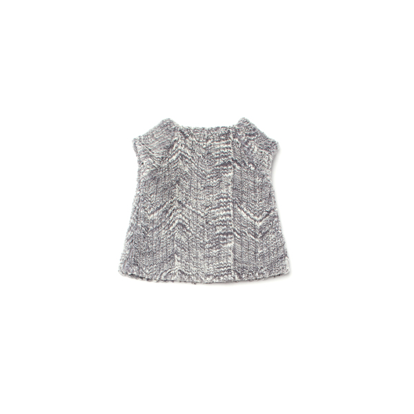 OMAMImini Silver Faux Fur Cap Sleeve Top