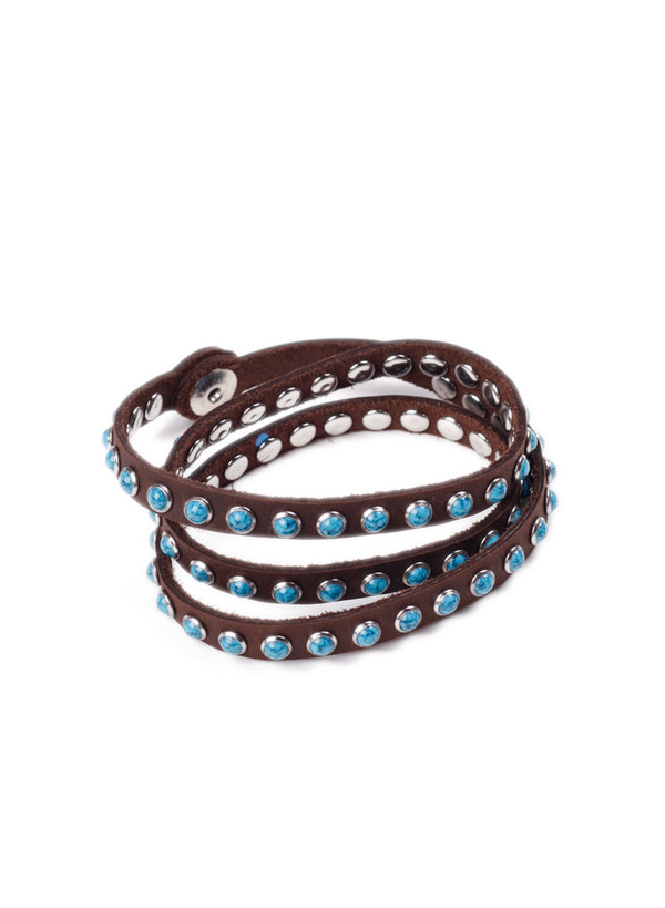 Men's MAPLE Leather Wrap Bracelet Brown