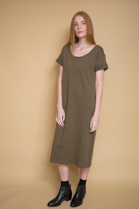 Ali Golden Roll Sleeve T-Shirt Dress / Olive