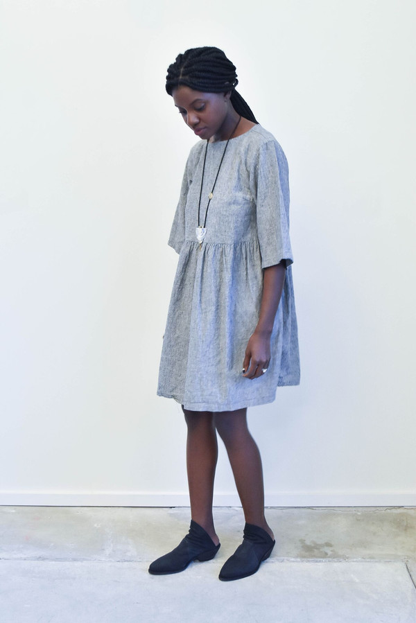 Esby Willow Babydoll Dress in Grey Stripe