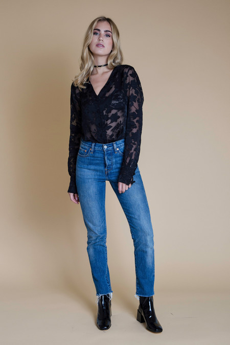 BETWEEN TEN Cypress Blouse - Black Floral