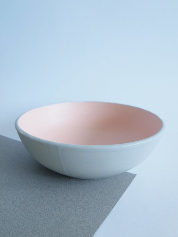 peach/gray large low bowl