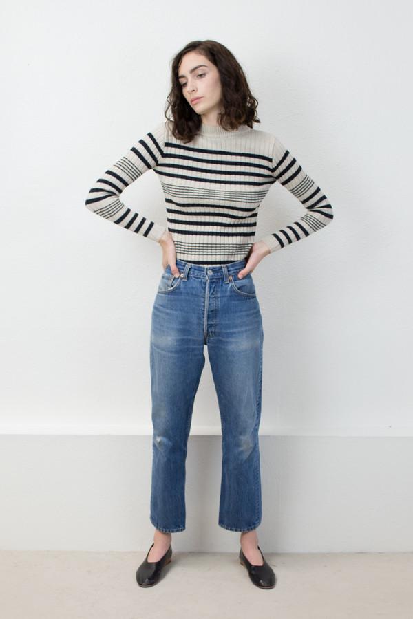 Micaela Greg Black/Cream Rib Striped Sweater