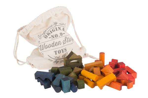 Wooden Story 100 Rainbow Blocks in Canvas Bag - Coucou Boston