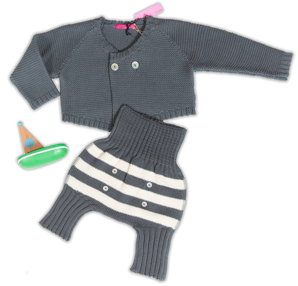Le Toit De La Lune Grey & Ecru Knit Set - Coucou Boston