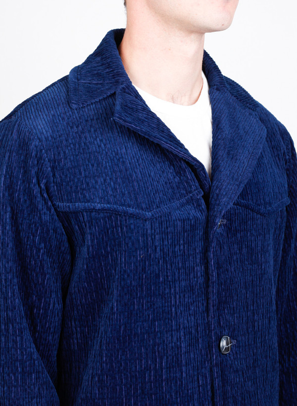 Men's Blue Blue Japan Woven Indigo Wavy Corduroy Ranch Coat