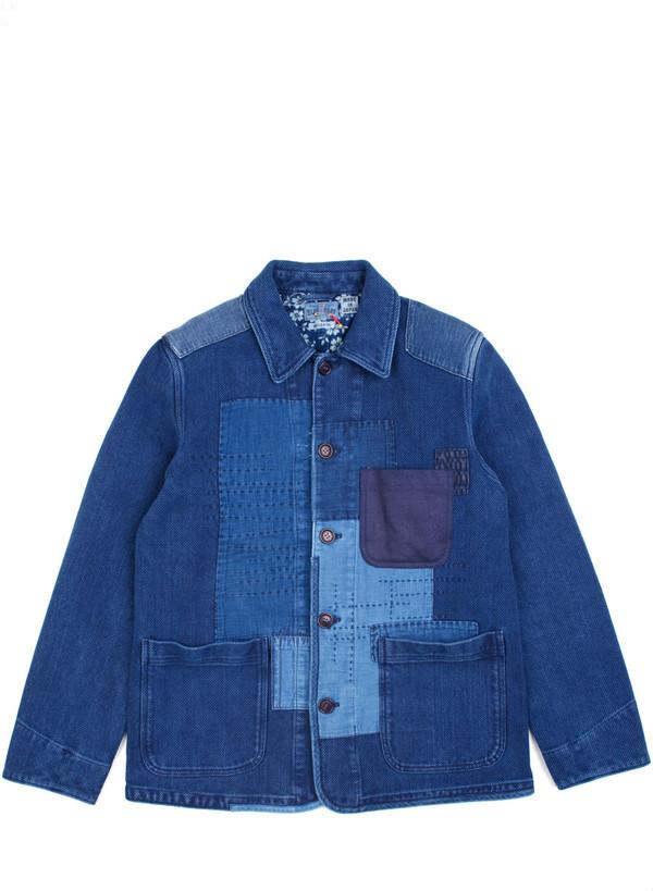 "Men's Blue Blue Japan Woven Pure Indigo ""Sashiko"" Hand Patchwork Jacket"