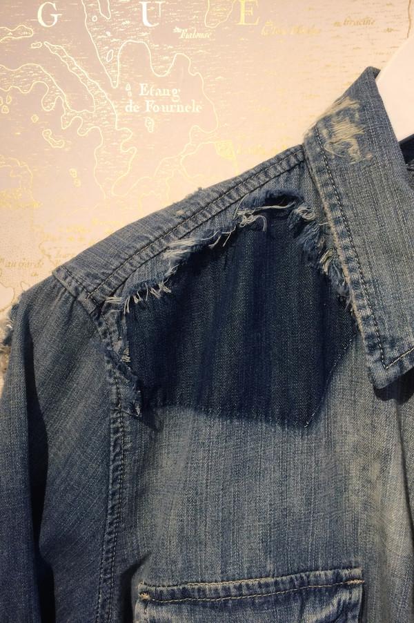Mother Denim 'Super Ex's' Crop Fray Denim Shirt Jacket