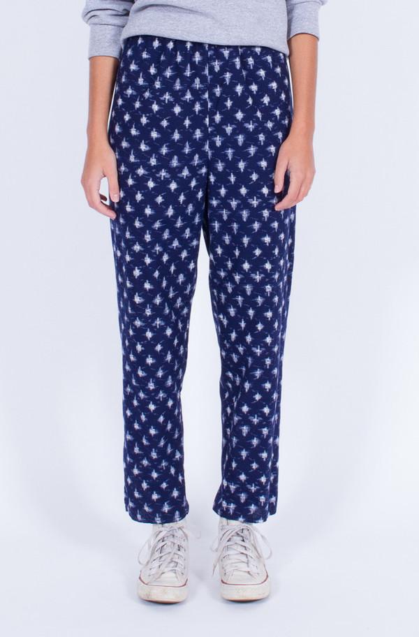 Yo Vintage! Navy Ikat Print Pants (Med-Large)