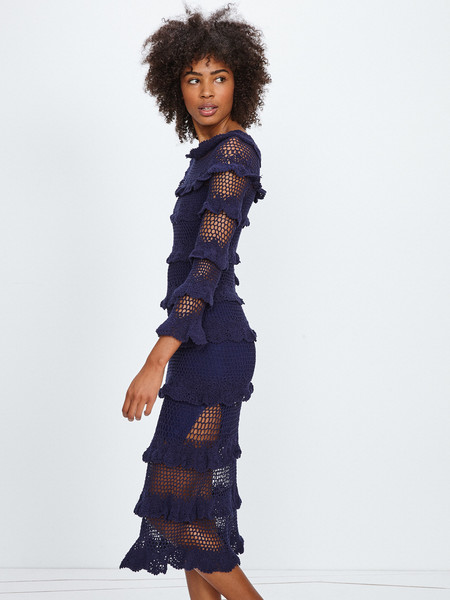 Nikki Chasin LUCIA CROCHET MIDI DRESS