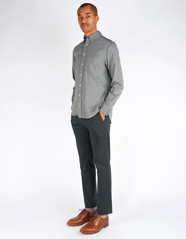 Men's Gitman Vintage Button Down Herringone Japanese Flannel Charcoal