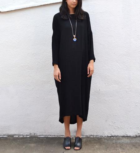 Black Crane Black Pleated Cocoon Dress