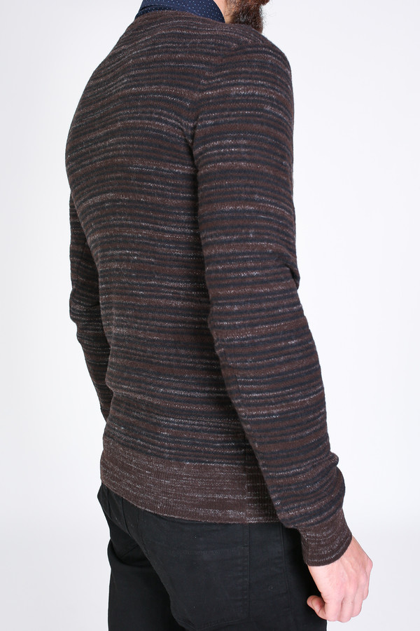 Men's Billy Reid Blurred Stripe Crew Sweater in Brown