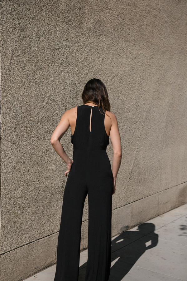 mara hoffman crepe cross front jumpsuit
