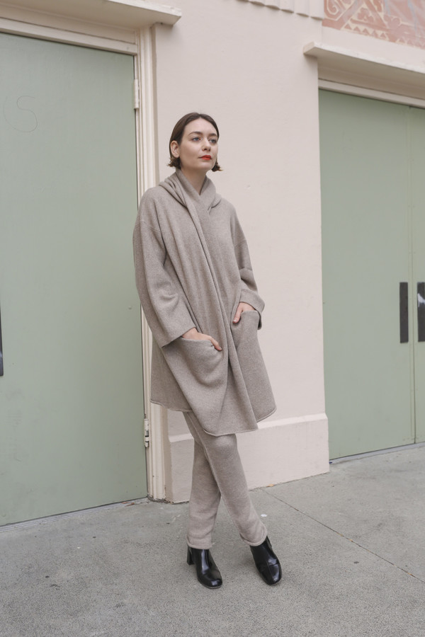 Lauren Manoogian Cashmere Capote Coat in Raw Brown