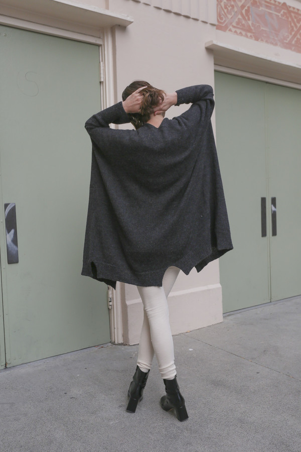 Lauren Manoogian Wide Cardigan in Dark Charcoal