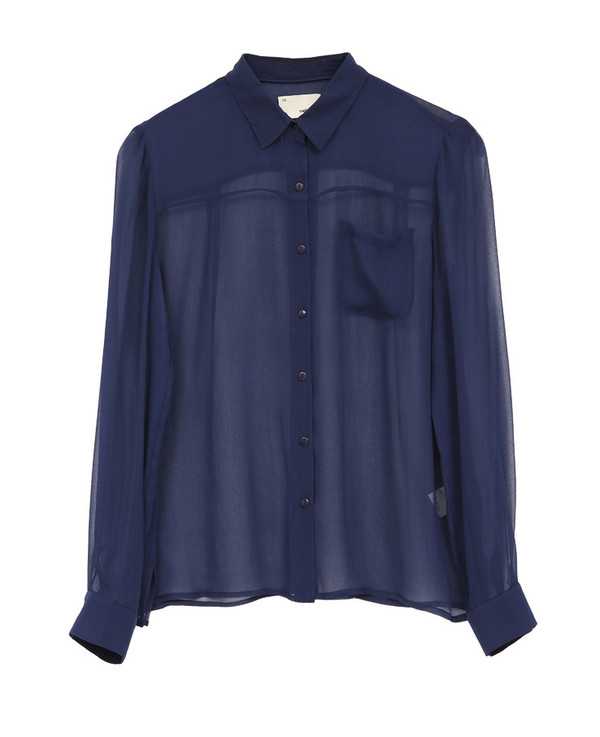 The Korner Navy Long Sleeve Sheer Silk Shirt