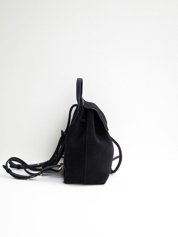 Mansur Gavriel Mini Backpack, Black, Suede