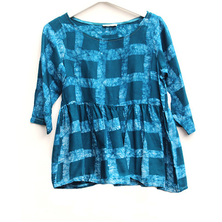 Della Teal Checkered Top