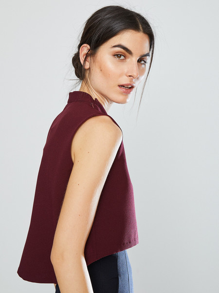 KAAREM Wind Chime Raised Collar Top in Burgundy