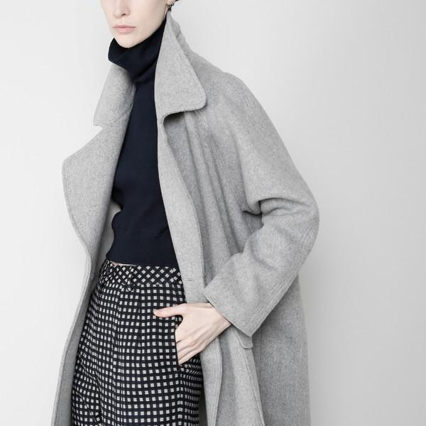7115 by Szeki Long Wool Coat - Gray FW16