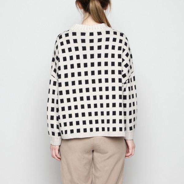 7115 by Szeki Mock-Neck Merino Plaid Sweater - Beige + Charcoal FW16