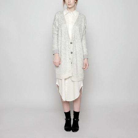 7115 by Szeki Mohair Gradient Long Cardigan - Cream + Light Gray FW16