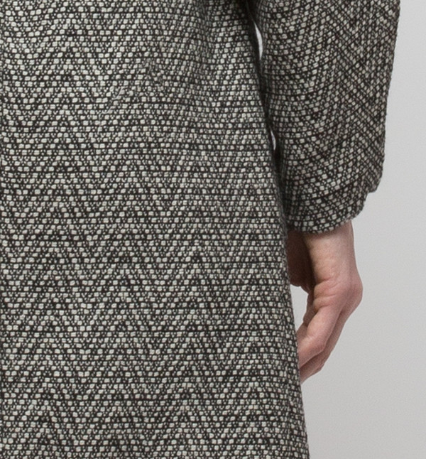 H. Fredriksson Iris Long Coat Fishbone Tweed